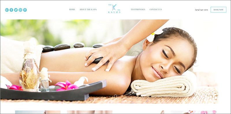 Screenshot of the K spa website