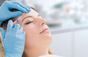 woman patient during an injection procedure